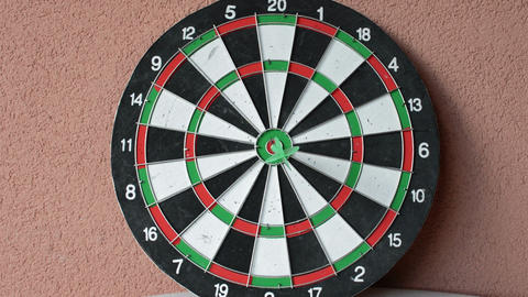 Green Dart Arrow Hitting In The Target Center Of Dartboard with Animation