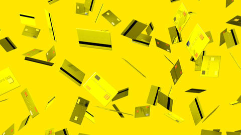 Yellow Credit cards on yellow background Stock Video Footage