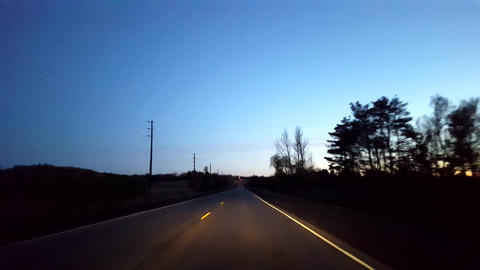 Driving Rural Countryside Road During Morning. Driver Point of View POV Along Beautiful Dawn Morning Live Action