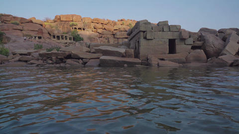 Hampi is an ancient village with ruined temple complexes of Vijayanagara Empire GIF