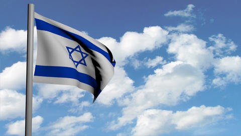 israeli flag on sky background with white clouds, computer 3d animation, render Animation