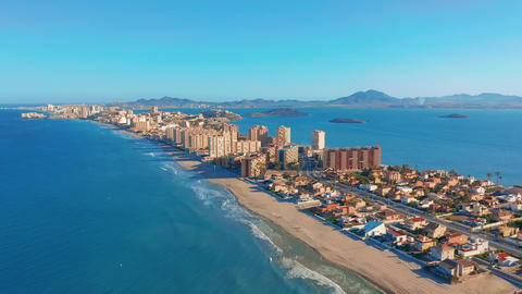 Aerial view. Panoramic view La Manga del Mar Menor, Cartagena, Murcia, Spain Footage