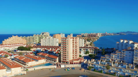 Aerial view. Panoramic view of streets, roads and buildings foreland La Manga Footage