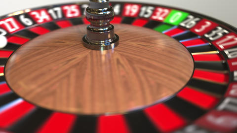 Casino roulette wheel ball hits 36 thirty-six red. 3D animation Footage