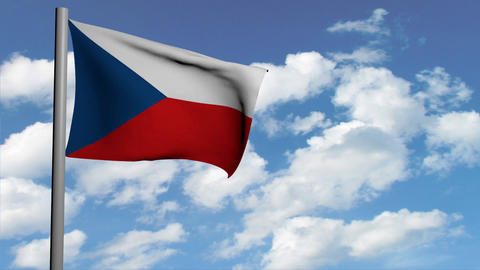 Czech flag on sky background with white clouds, computer 3d animation, render Animation