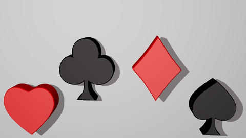 Playing card suit, animated 3d card pips, red heart, red diamond, black club GIF