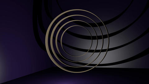 bronze metal rings moving in dark space with purple light. Abstract mystical Animation