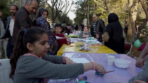 Tehran, Iran - 2019-04-03 - Street Fair Entertainment 11 - Children Craft Table Live Action