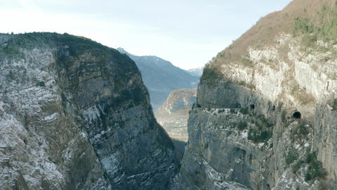 MONTE TOC, ITALY - DECEMBER 23, 2018. Aerial view of infamous Vajont Dam, the Live Action