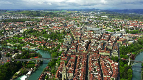 Flight over Altstadt, historic part of Bern, the capital of Switzerland Footage