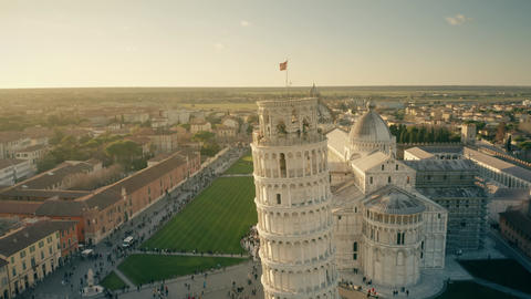Aerial view of famous Leaning Tower of Pisa on Piazza dei Miracoli square. Italy Footage
