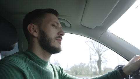 Successful businessman is driving a car Footage