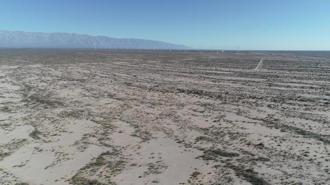 Aerial drone scene of wind field full of wind turbines in Aimogasta, la rioja, Argentina. Generation Footage