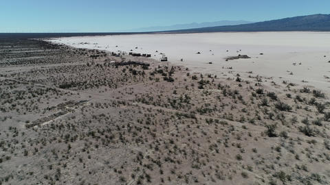Aerial drone scene of barreal desert at aimogasta, la rioja, argentina. Camera moving forwards to Footage