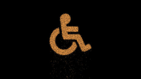 Symbol wheelchair appears from crumbling sand. Then crumbles down. Alpha channel Premultiplied - Animation