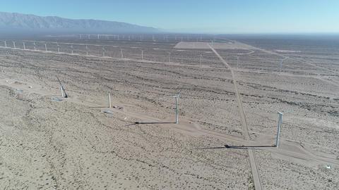Aerial drone scene of wind field full of wind turbines in Aimogasta, la rioja, Argentina. Generation Live Action