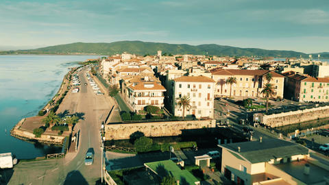 Aerial shot of town of Orbetello. Tuscany, Italy GIF