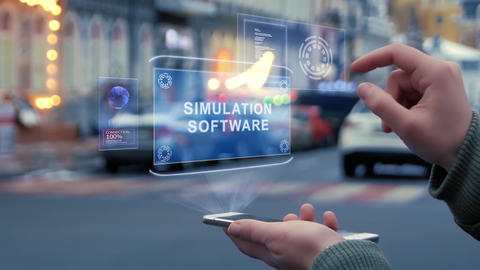 Female hands interact HUD hologram Simulation software Footage