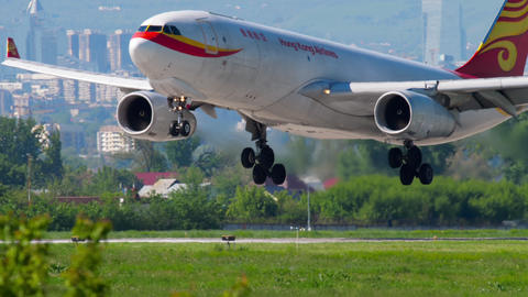 Hong Kong Airlines Cargo Airbus A330 approaching GIF