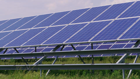 Cell solar panels green energy generation, power generation Footage