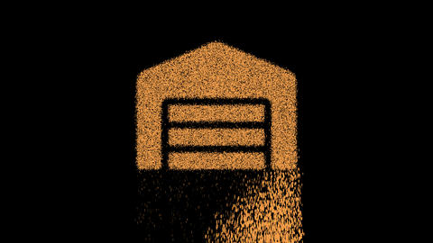 Symbol warehouse appears from crumbling sand. Then crumbles down. Alpha channel Premultiplied - Animation