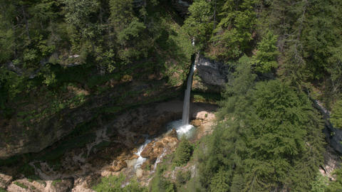 Aerial - High angle view of a waterfall in forest Footage