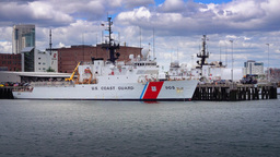 A Coast Guard Ship is Docked at a Boston Port Footage