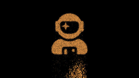 Symbol user astronaut appears from crumbling sand. Then crumbles down. Alpha channel Premultiplied - Animation