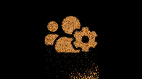 Symbol users cog appears from crumbling sand. Then crumbles down. Alpha channel Premultiplied - Animation