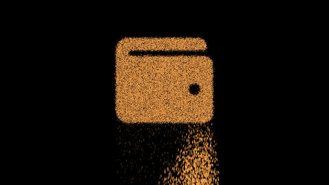 Symbol wallet appears from crumbling sand. Then crumbles down. Alpha channel Premultiplied - Matted Animation