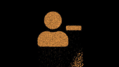 Symbol user minus appears from crumbling sand. Then crumbles down. Alpha channel Premultiplied - Animation
