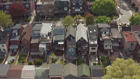Aerial view of residential homes in Toronto, Ontario in late spring Footage
