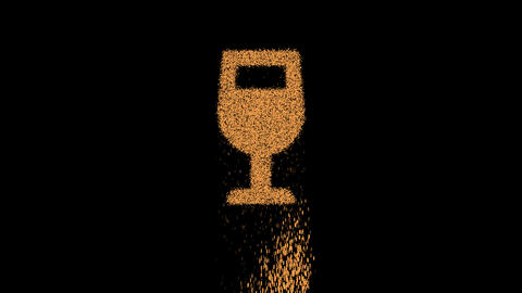 Symbol wine glass appears from crumbling sand. Then crumbles down. Alpha channel Premultiplied - Animation