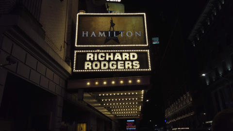 New York City, New York - 2019-05-08 - Broadway 1 Hamilton Theater Marquee Live Action