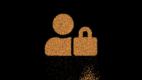 Symbol user lock appears from crumbling sand. Then crumbles down. Alpha channel Premultiplied - Animation