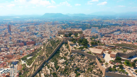 Aerial view of the Santa Barbara castle in Alicante, Spain Footage