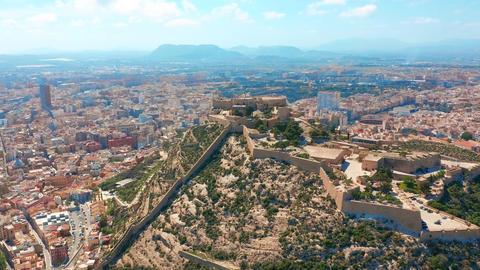Aerial view of the Santa Barbara castle in Alicante, Spain Stock Video Footage