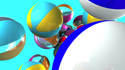 Colorful beach balls on blue background Stock Video Footage