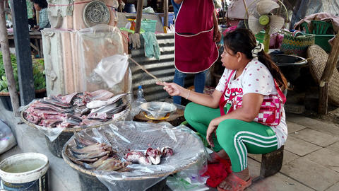 Sukhothai, Thailand - 2019-03-06 - Market Vendor Uses Stick With Bag To Keep Footage