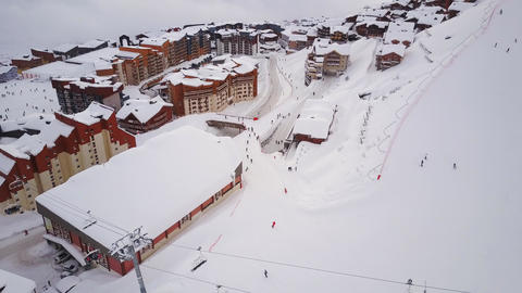 VAL THORENS, FRANCE - NOVEMBER, 2017: Scenery of swiss ski resort with moving Footage