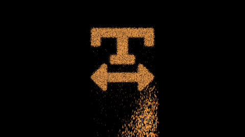 Symbol text width appears from crumbling sand. Then crumbles down. Alpha channel Premultiplied - Animation