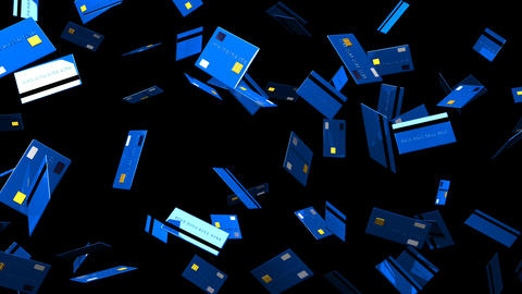 Blue Credit cards on black background Animation