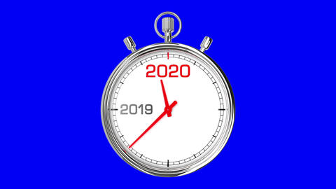 New Year 2020 Stopwatch (Blue Screen) Animation
