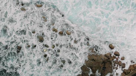Drone shoot of the sea in El Pris, Tenerife Island, Canary Islands, Spain Footage
