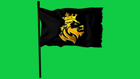 Golden Lion King Flag Graphic Element Green Screen Animation