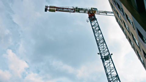 WARSAW, POLAND - MAY 24, 2019. Time lapse of a tower crane in action on a Live Action
