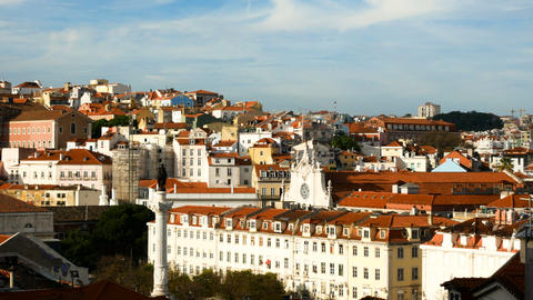 view from the Santa Justa in Lisbon, Portugal Footage