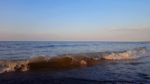 Small Breaking Waves on Beautiful Beach Shore in the Morning. Daytime Vacation Shoreline Beach Footage