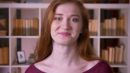 Closeup portrait of young redhead attractive caucasian... Stock Video Footage
