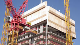 Partly Constructed Building and Construction Cranes Footage